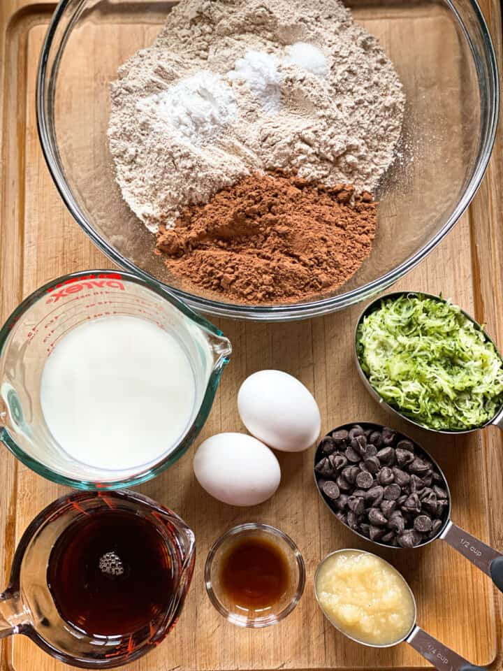 Healthy double chocolate zucchini muffins ingredients.
