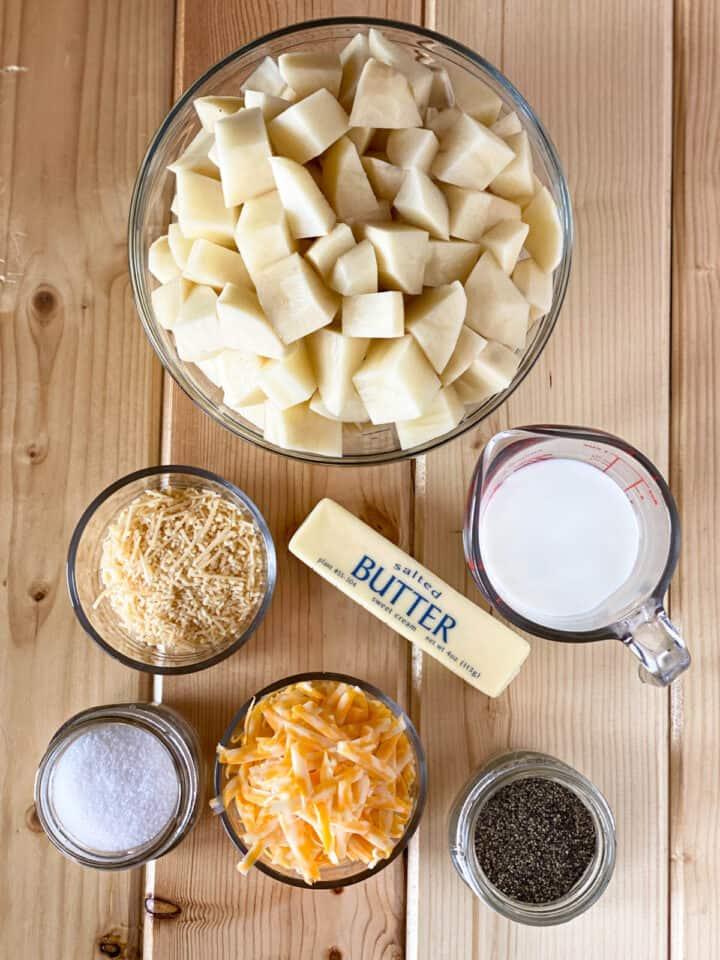 Homemade shepherd's pie mashed potato topping ingredients.