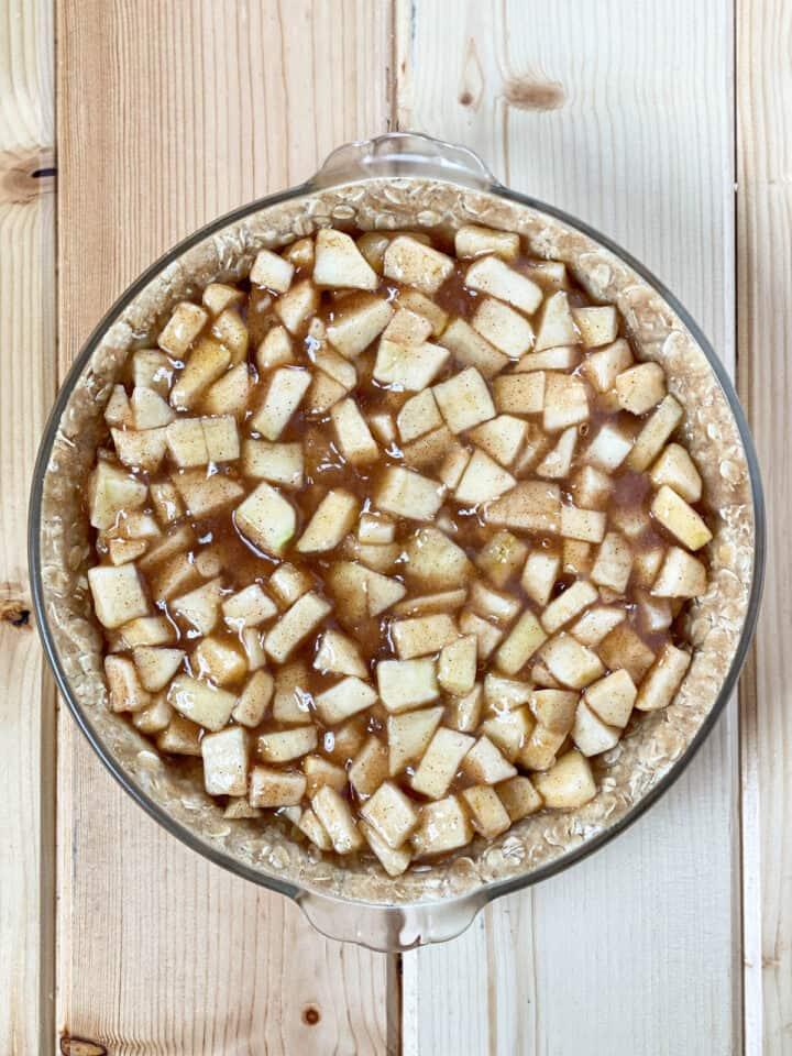 Apple filling in streusel crust.