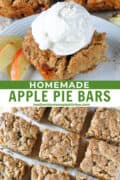 Apple pie bar squares and one square topped with vanilla ice cream.