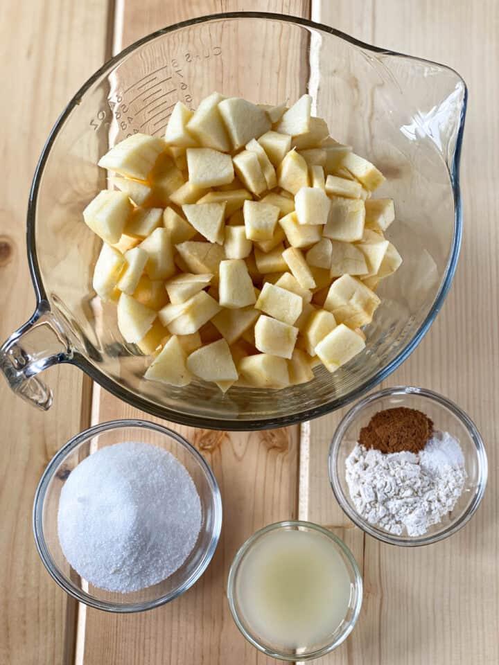 Apple pie filling ingredients.