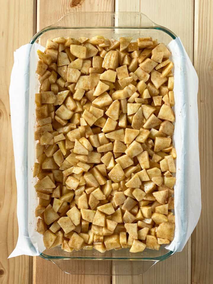 Apple pie filling on top of cookie crust.