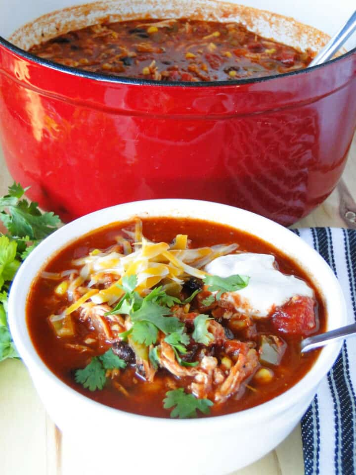 Side view of easy chicken taco soup in white round bowl with spoon in front of pot of soup.