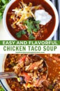 Ladleful and bowl of easy chicken taco soup.