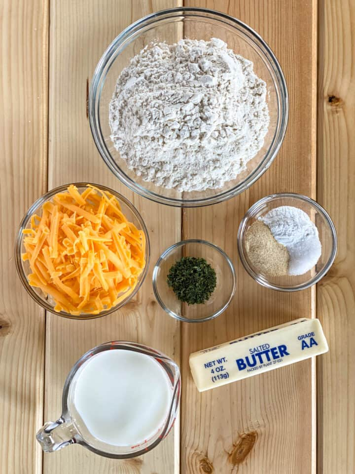 Garlic cheese drop biscuit ingredients.