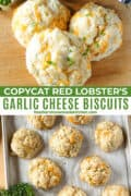 Garlic cheese drop biscuits on sheet pan and in front of basket full of biscuits.
